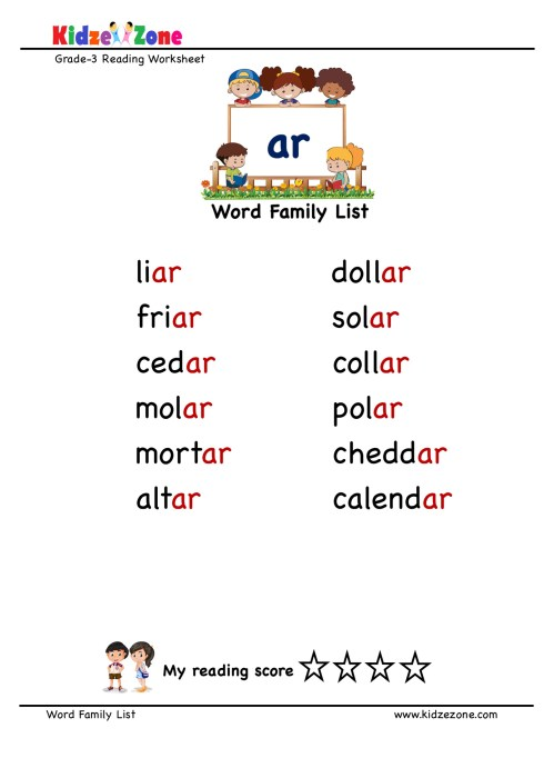 small resolution of Explore and learn words from \ar\ word family with word list worksheet