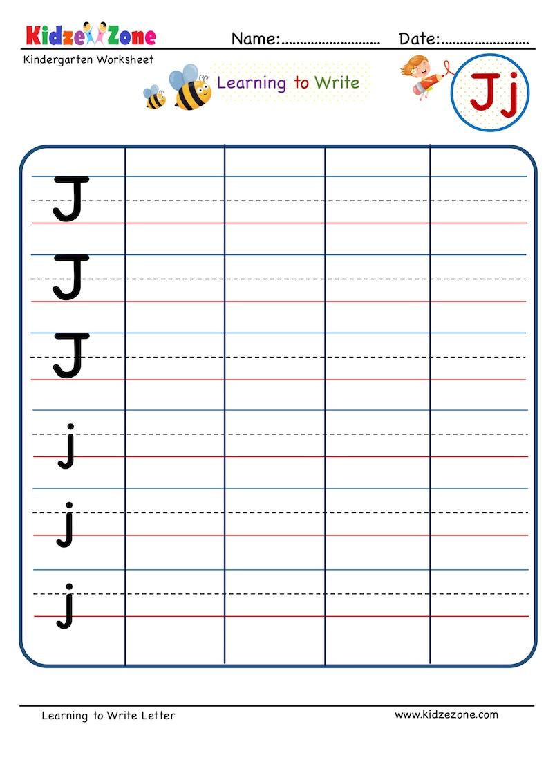 hight resolution of Letter J Writing Worksheet - KidzeZone