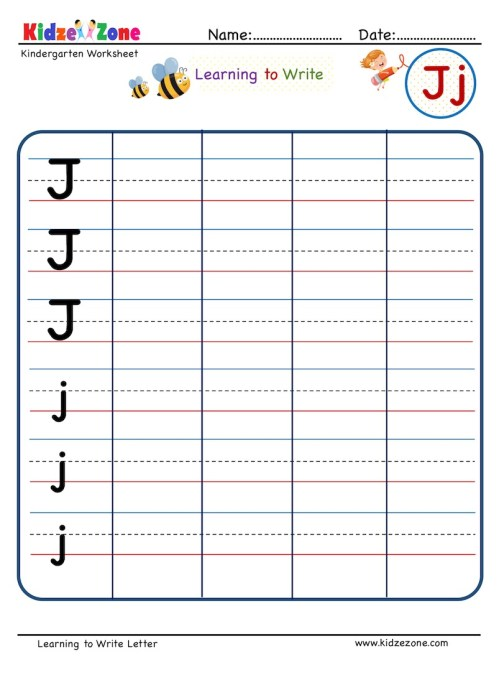 small resolution of Letter J Writing Worksheet - KidzeZone