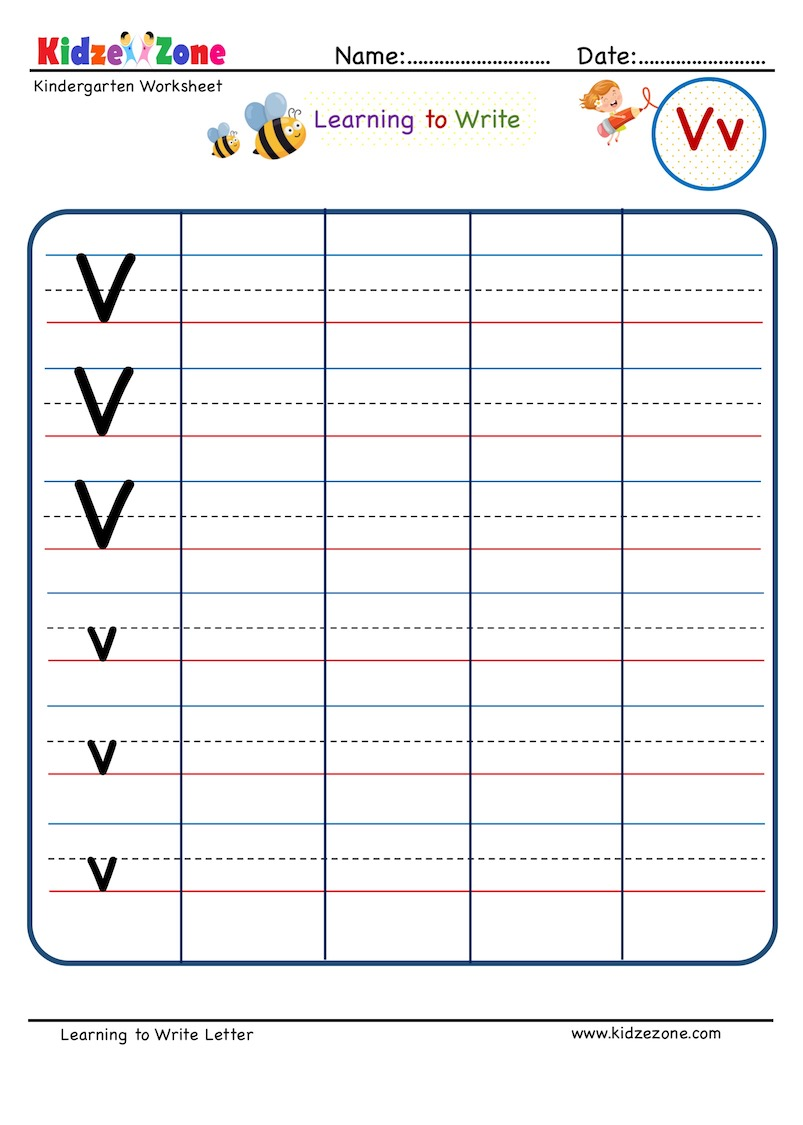 hight resolution of Letter V Writing Worksheet - KidzeZone