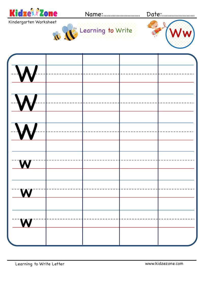 medium resolution of Kindergarten Letter W Writing Worksheet - KidzeZone
