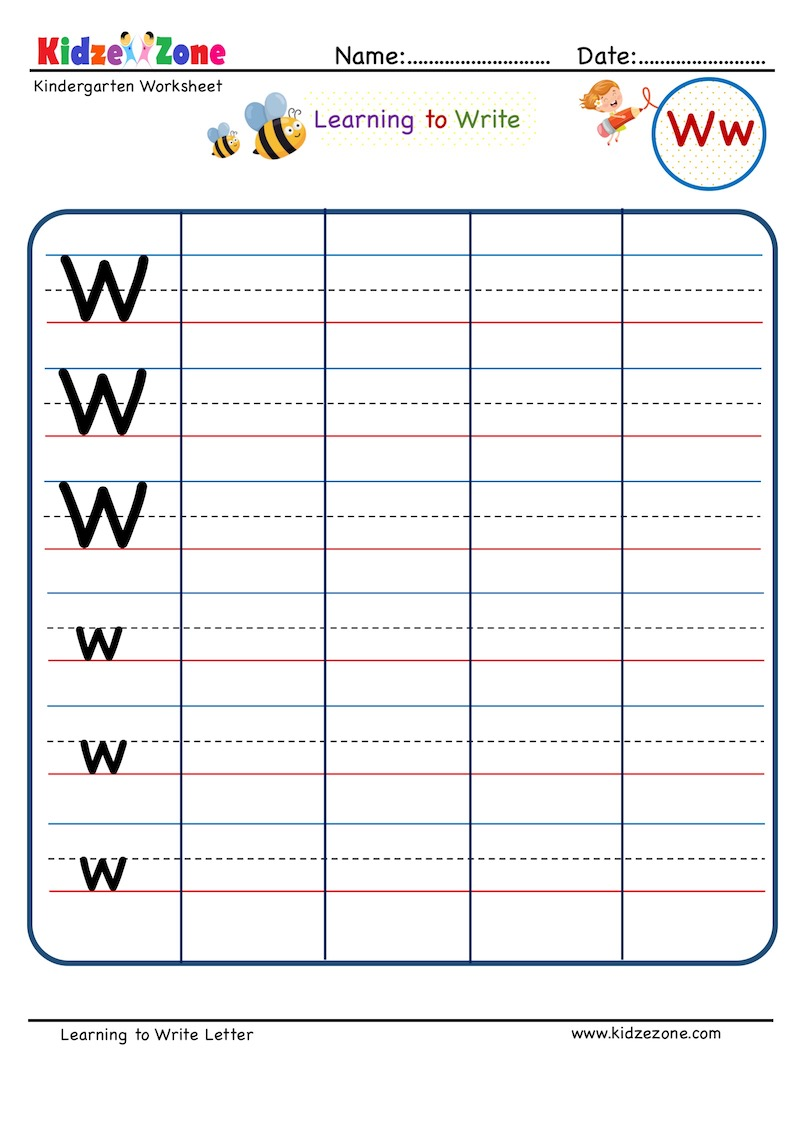 hight resolution of Kindergarten Letter W Writing Worksheet - KidzeZone