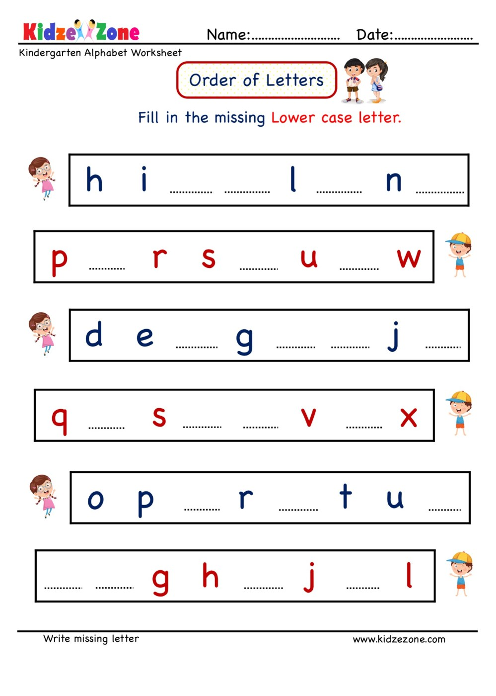 medium resolution of Kindergarten Letter worksheets - Write Missing Letter