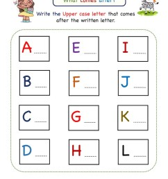 Kindergarten Missing Letter Worksheet - What Comes After [ 1125 x 803 Pixel ]