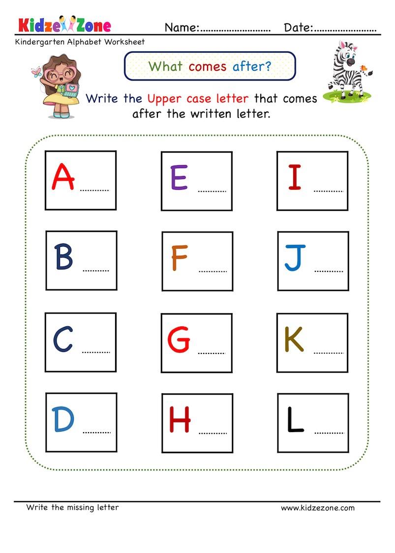 medium resolution of Kindergarten Missing Letter Worksheet - What Comes After