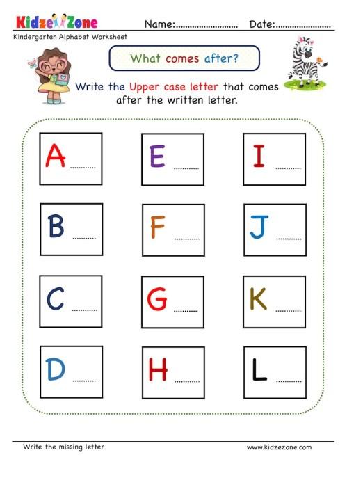 small resolution of Kindergarten Missing Letter Worksheet - What Comes After