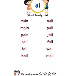 Explore and learn words from \ai\ word family with word list worksheet [ 2249 x 1606 Pixel ]