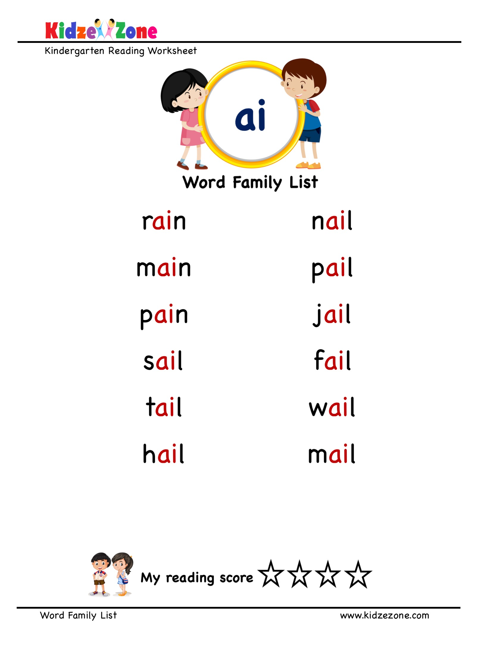 hight resolution of Explore and learn words from \ai\ word family with word list worksheet