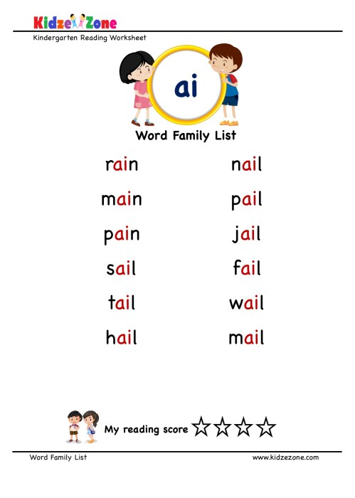 small resolution of Explore and learn words from \ai\ word family with word list worksheet