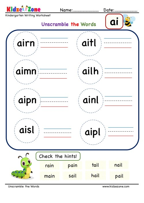 small resolution of Kindergarten ai word family Unscramble words worksheets