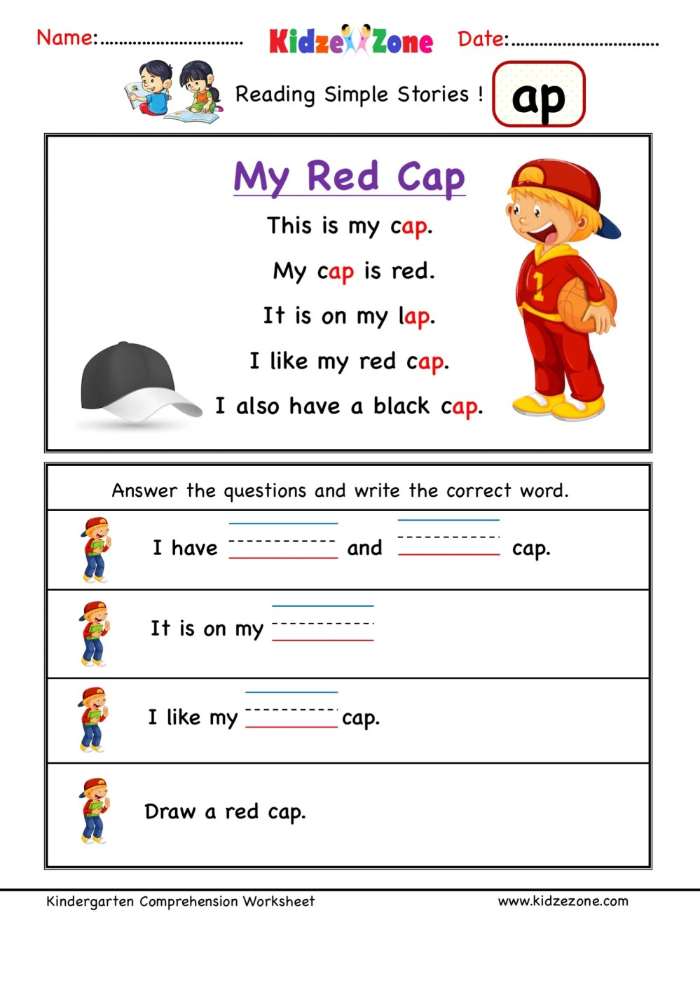 medium resolution of Kindergarten worksheets - ap word family reading Comprehension 4