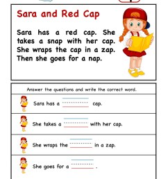 Kindergarten worksheets - ap word family - Comprehension 3 [ 2249 x 1606 Pixel ]