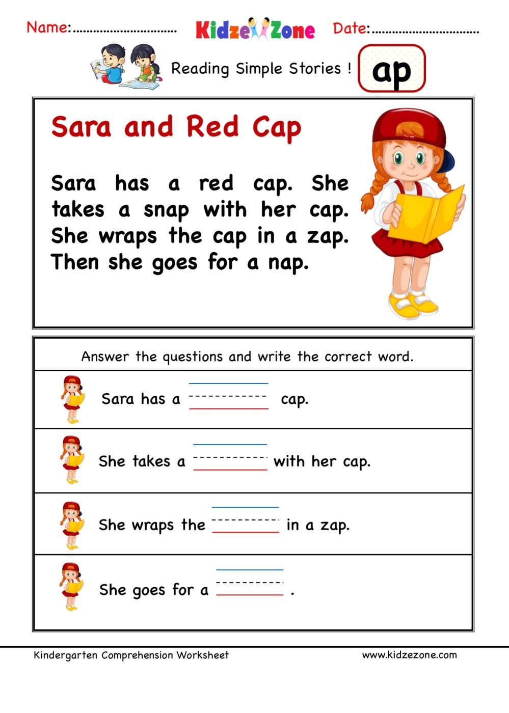 medium resolution of Kindergarten worksheets - ap word family - Comprehension 3