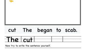 Kindergarten ab word family Unscramble Worksheet