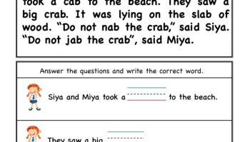 ab word family  Comprehension worksheet