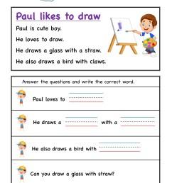 aw word family Kindergarten Reading Comprehension #3 - KidzeZone [ 2249 x 1606 Pixel ]