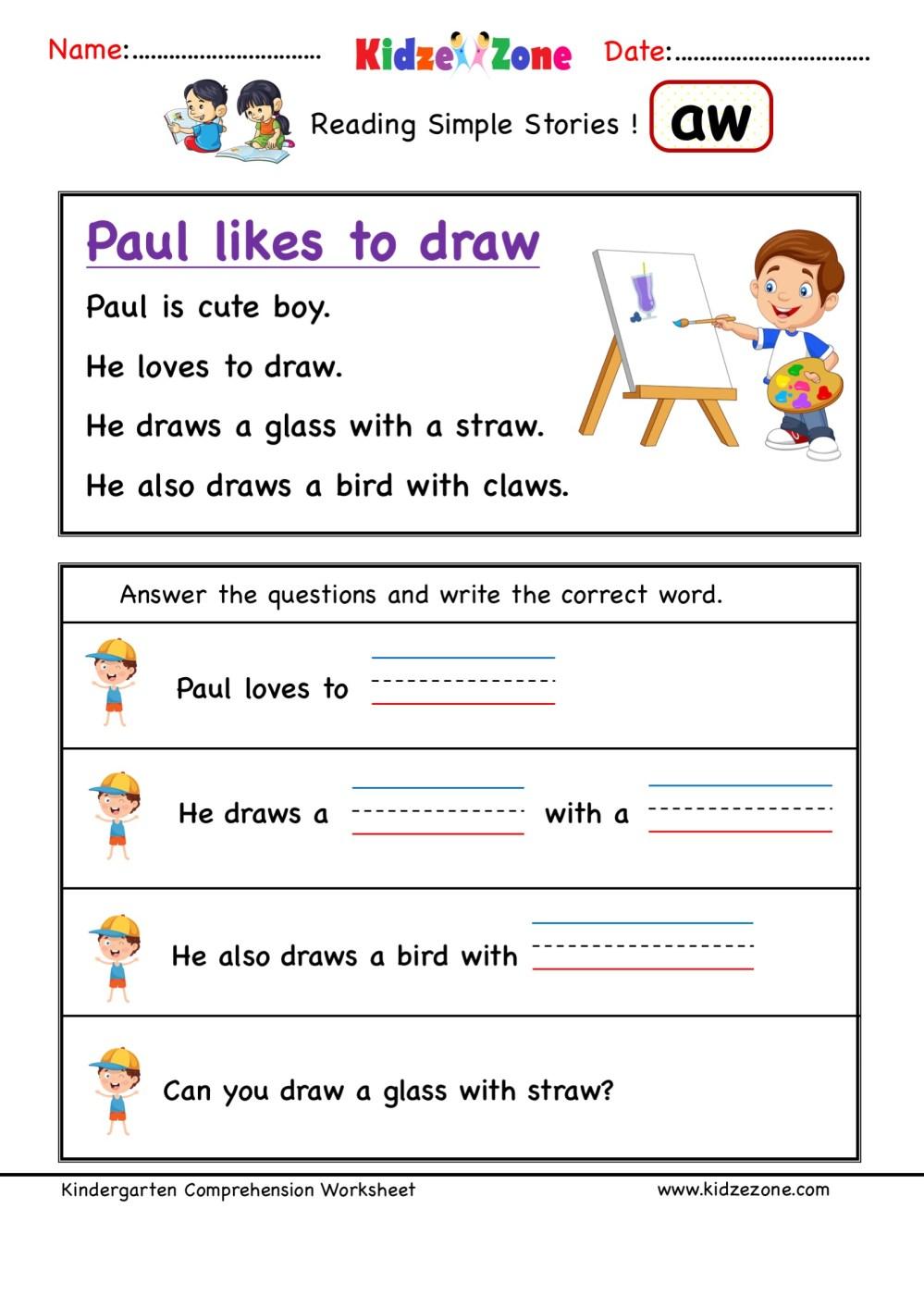 medium resolution of aw word family Kindergarten Reading Comprehension #3 - KidzeZone