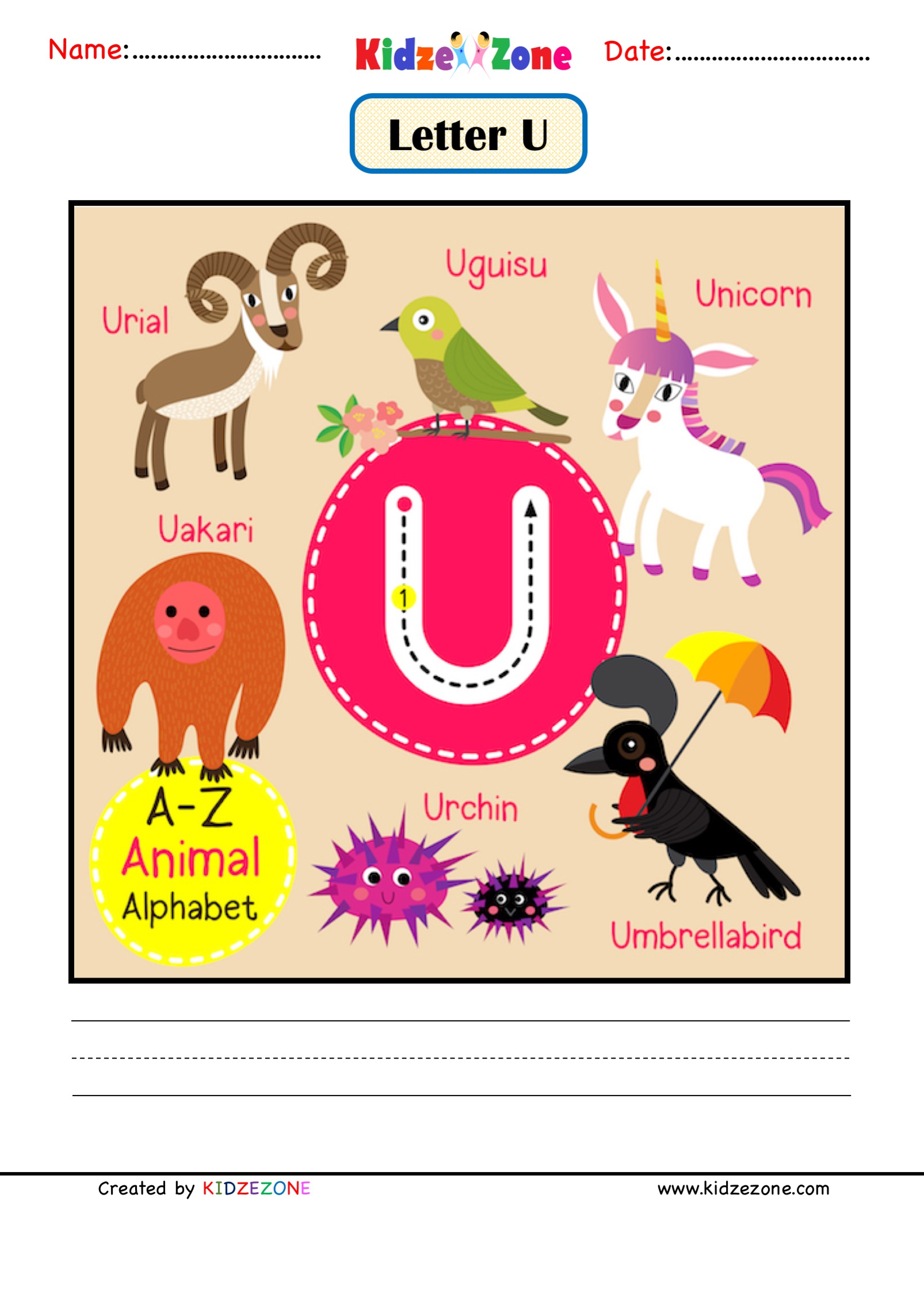 Kindergarten Letter U Animal Picture Cards Worksheet