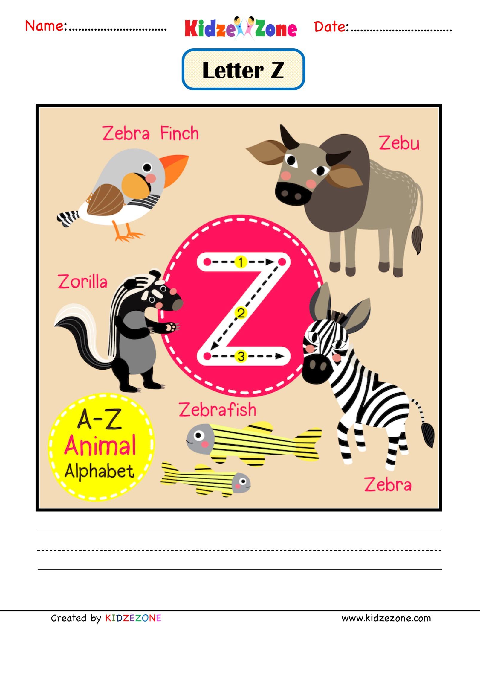 Kindergarten Letter Z Animal Picture Cards Worksheet
