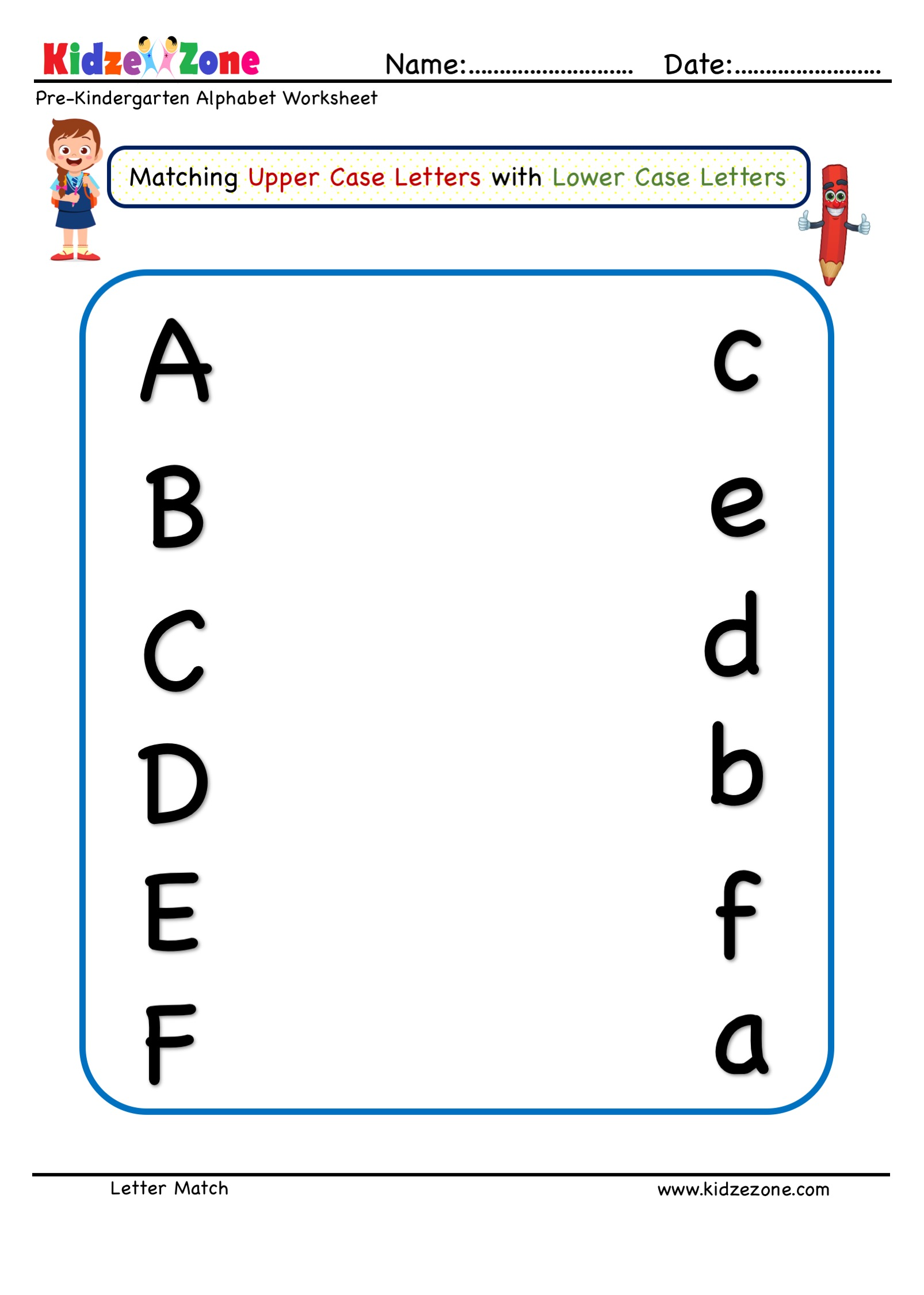 Preschool Letter Matching Worksheet Upper Case To Lower