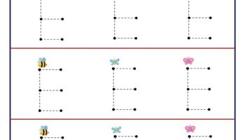 Tracing letter worksheet for kids to trace and learn letter E