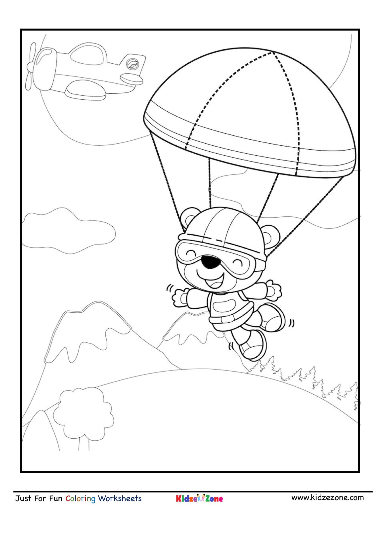 Sky Diving Bear Cartoon Coloring Page