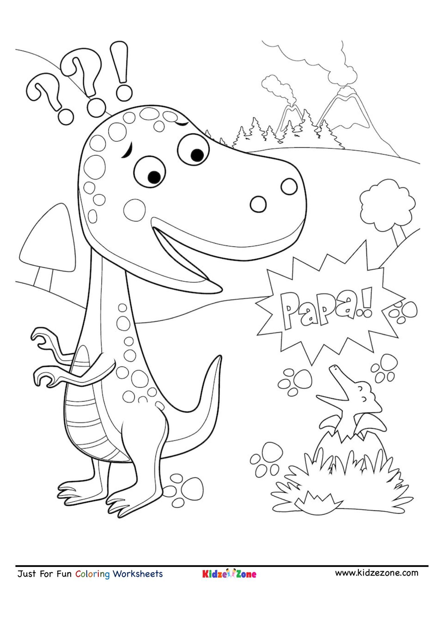 Dinosour Egg Hatching Cartoon Coloring Page