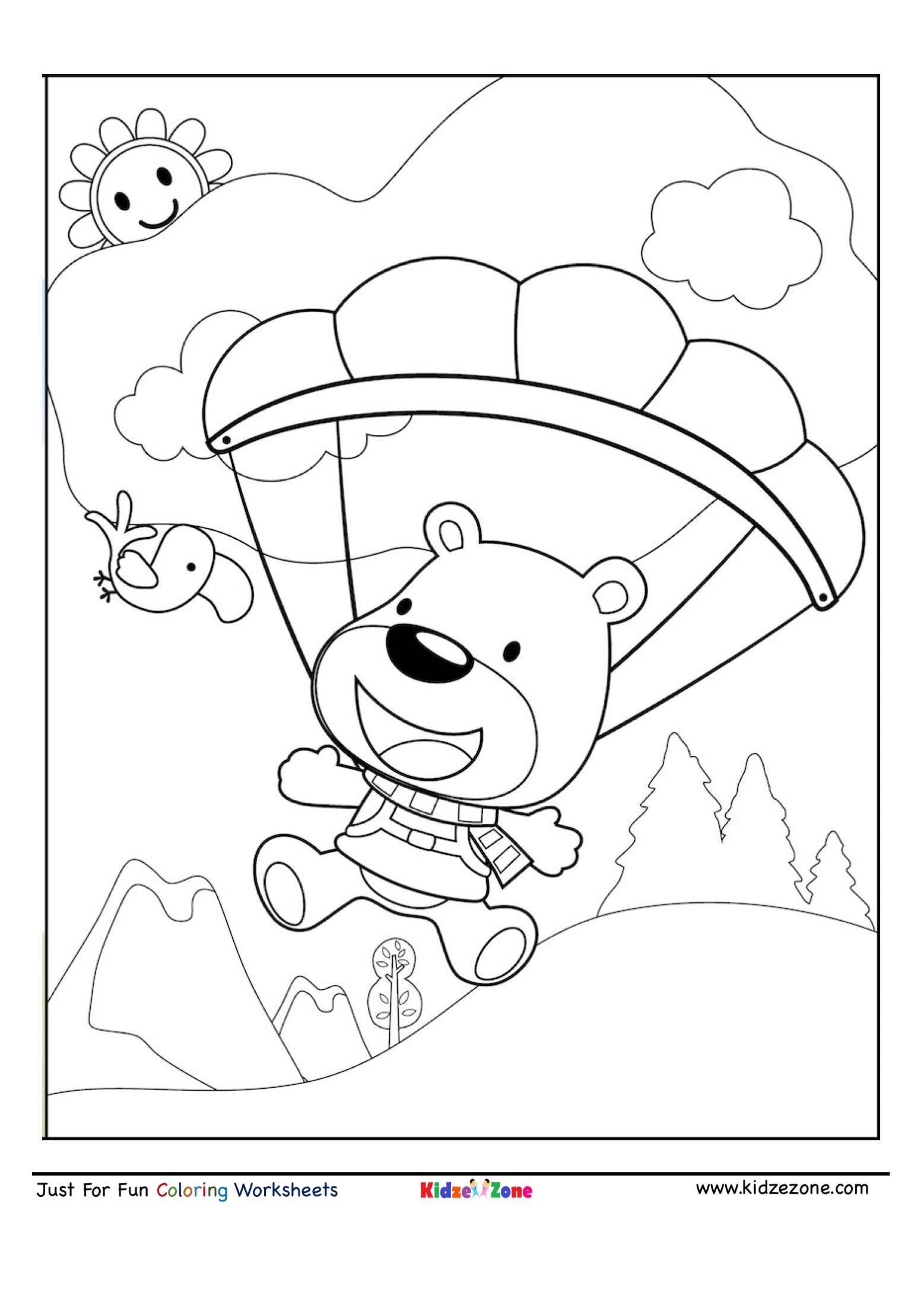 Bear Sky Diving Cartoon Coloring Page