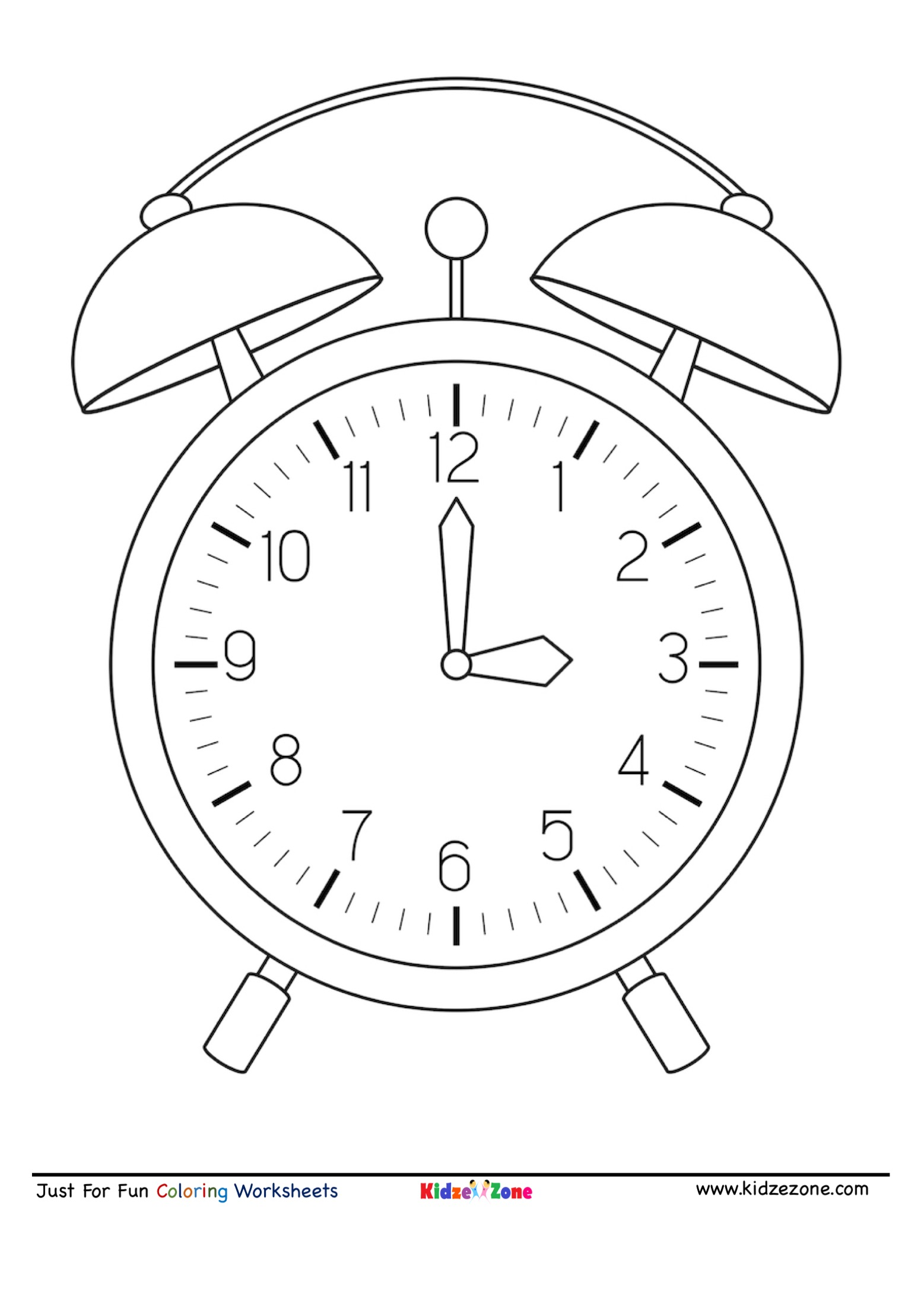 Clock Cartoon Coloring Page