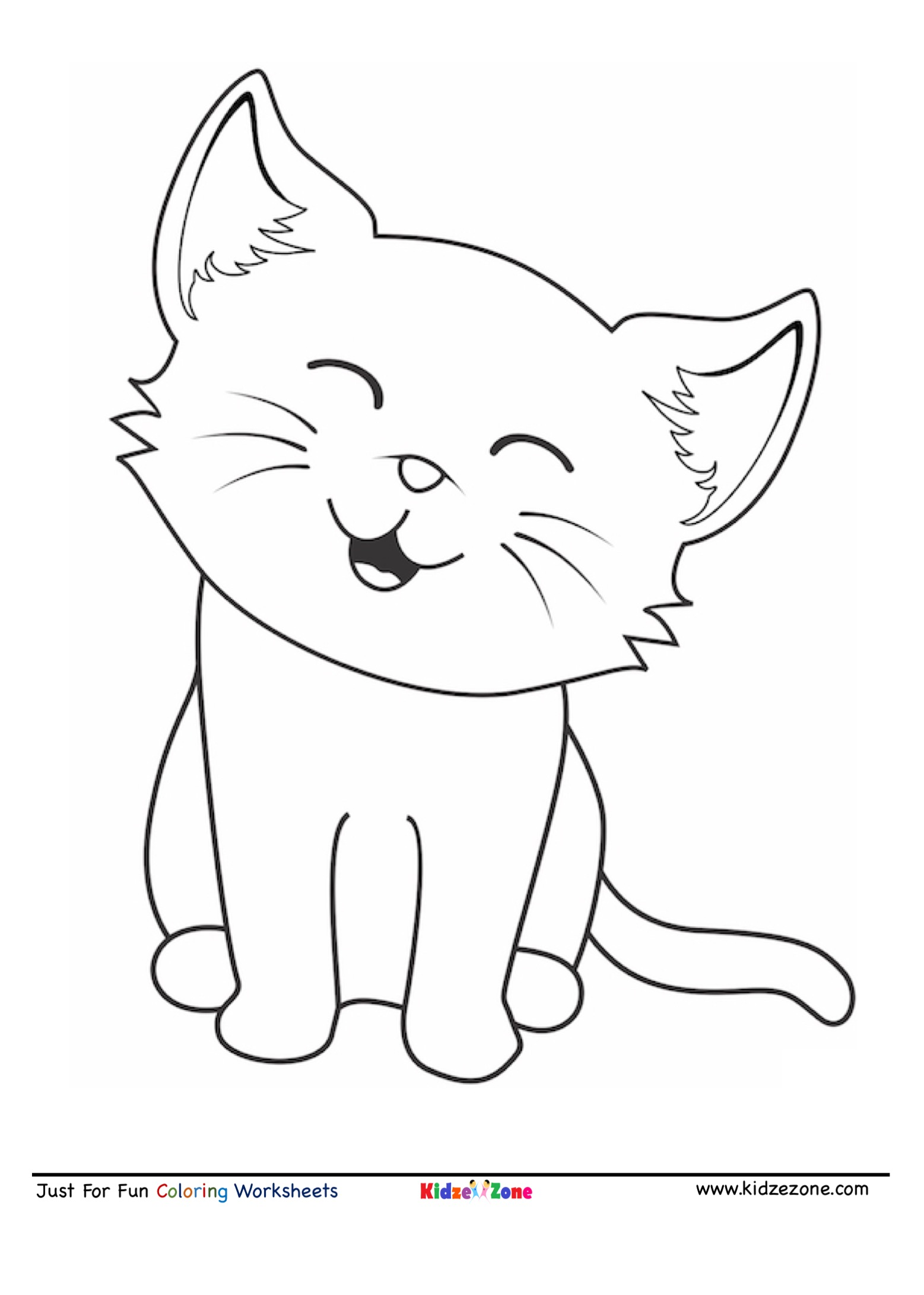 Cute Cat Cartoon Coloring Page