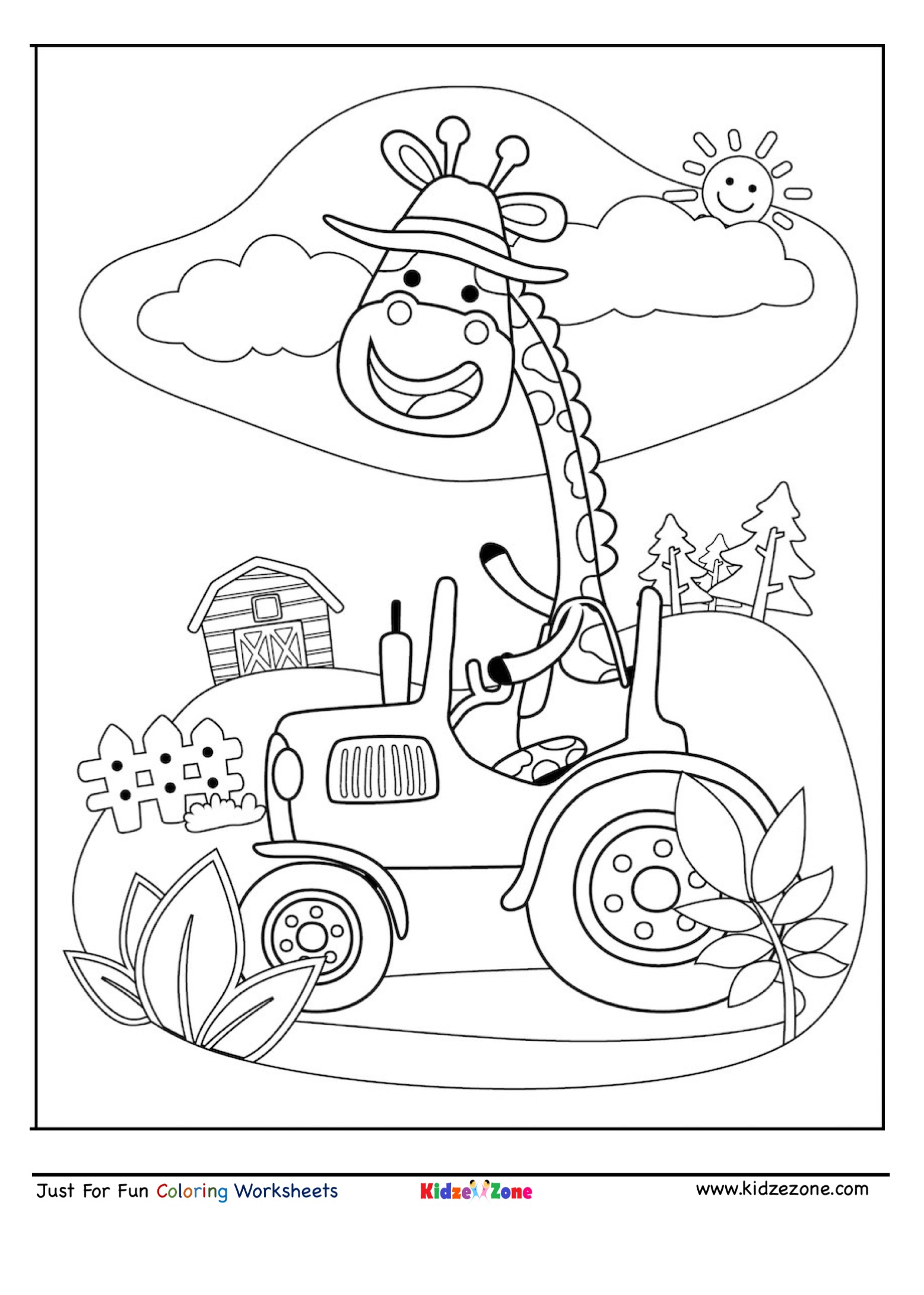 Giraffe Driving Cartoon Coloring Page