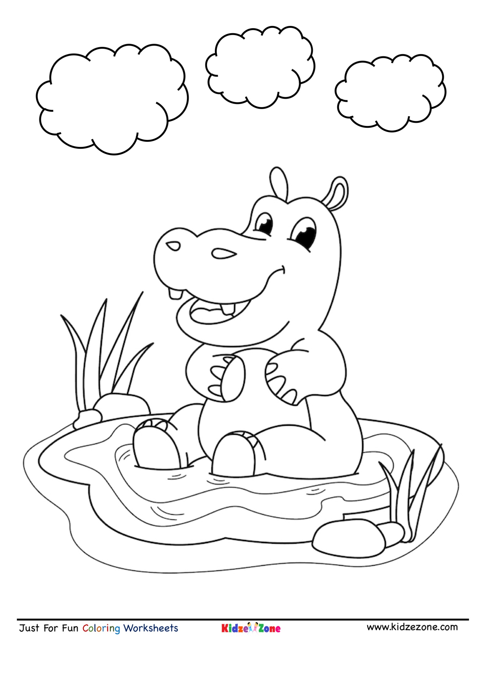 Hippo Cartoon Coloring Page