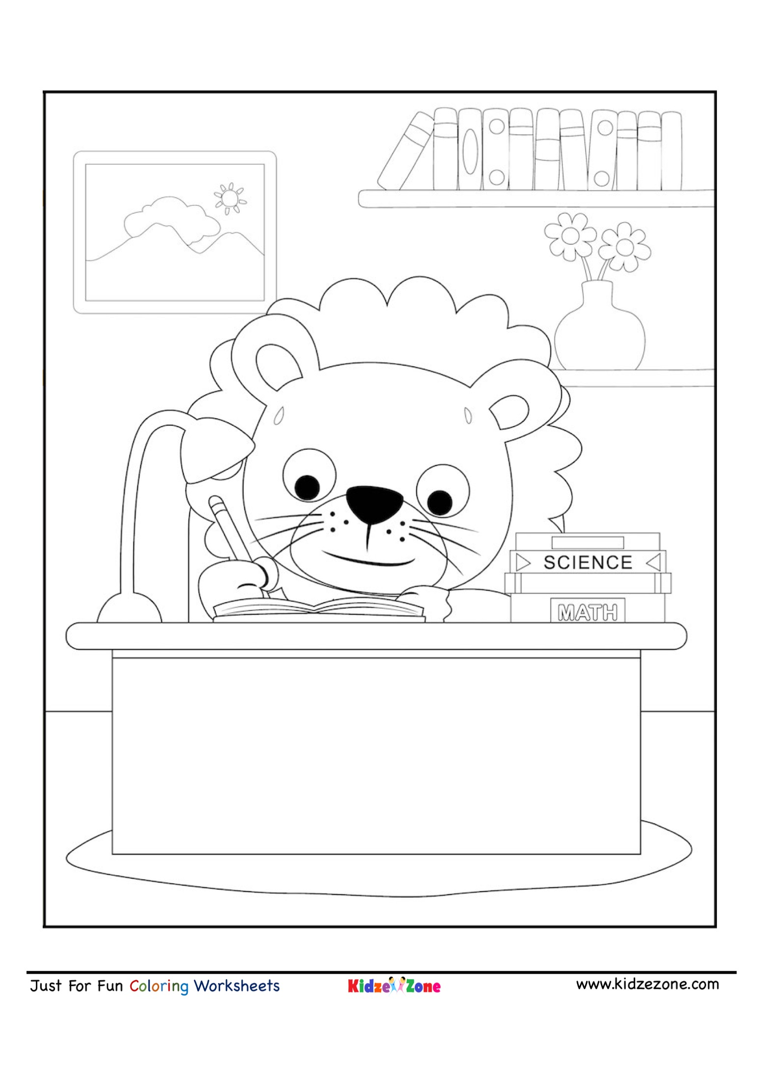 Cute Lion Cartoon Studying Coloring Page