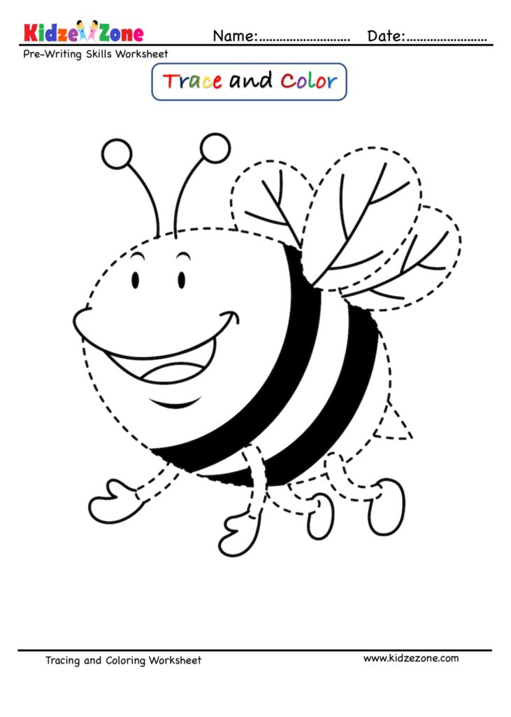 Pre-Writing Trace and Color Worksheet : Honey Bee Cartoon