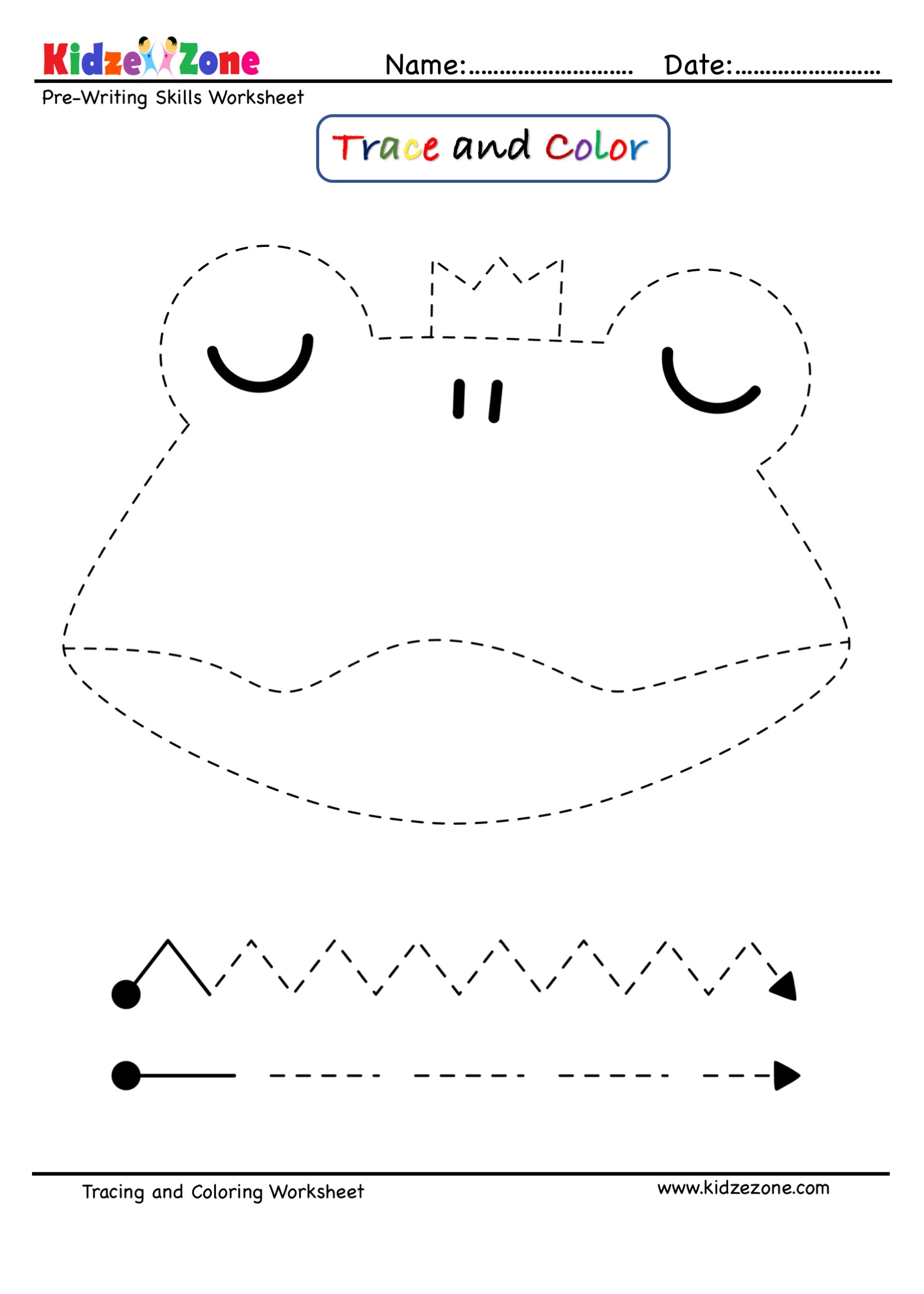 Pre Writing Trace And Color Worksheet Frog Cartoon