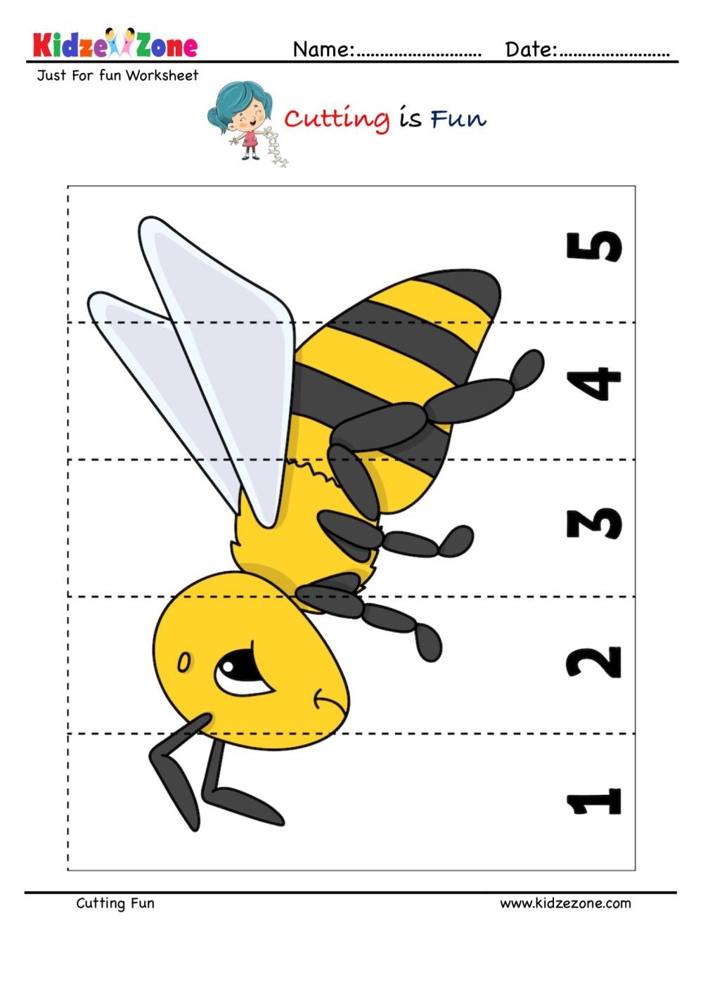 medium resolution of Cutting and Pasting Activity with Honey Bee - KidzeZone