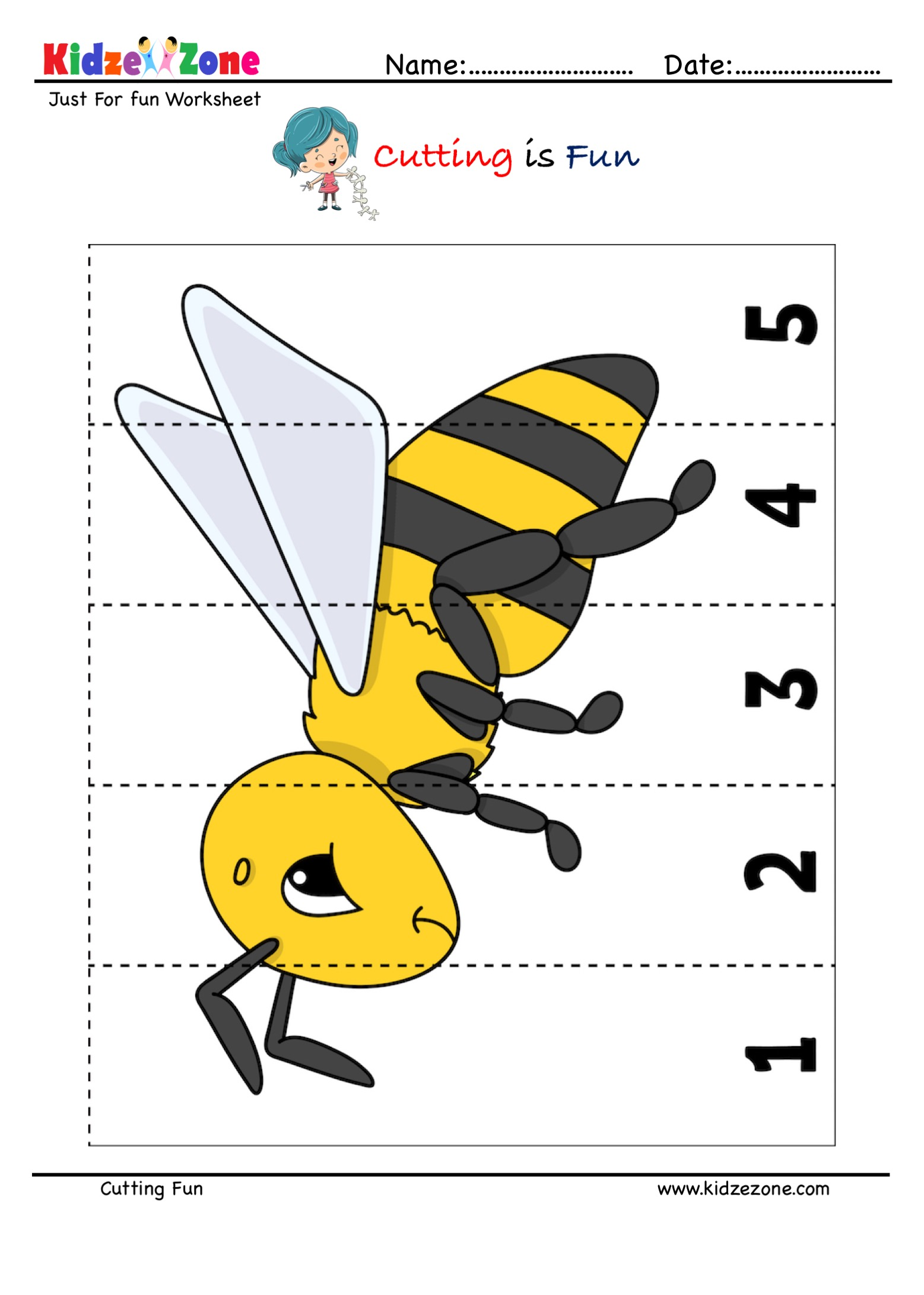 hight resolution of Cutting and Pasting Activity with Honey Bee - KidzeZone