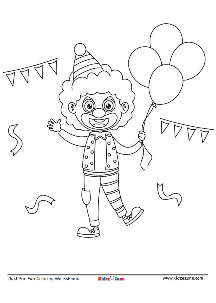 Funny Clown Bringing Smiles Coloring Page Kidzezone