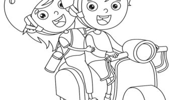 Just for Fun Coloring Sheet - Kid Driving Scooter