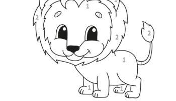 Lion Number Coloring Fun Worksheet