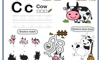 Letter C Tracing, Writing, Matching and Fun Activity Worksheet