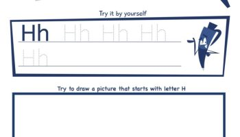 Letter H Super Smart Tracing, Writing, Drawing and Activity Worksheet