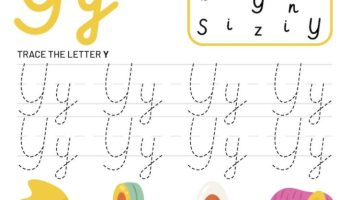 Letter Y Tracking Worksheet. Learn words with letter Y