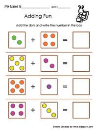 Adding Dots Worksheets Kindergarten Addition Primary