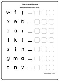 Alphabetical Order Worksheets, English Alphabets Worksheet