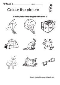 Color The Picture That Begins With Letter K Printable