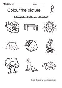 Color The Picture That Begins With Letter T, Pre school