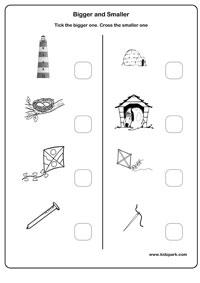 Bigger and Smaller Worksheets, Work Sheets for