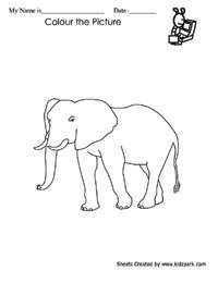 Elephant Coloring Fun worksheets,Kindergarten Curriculam