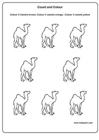 Camel Count and Color Worksheet,Teachers Resources